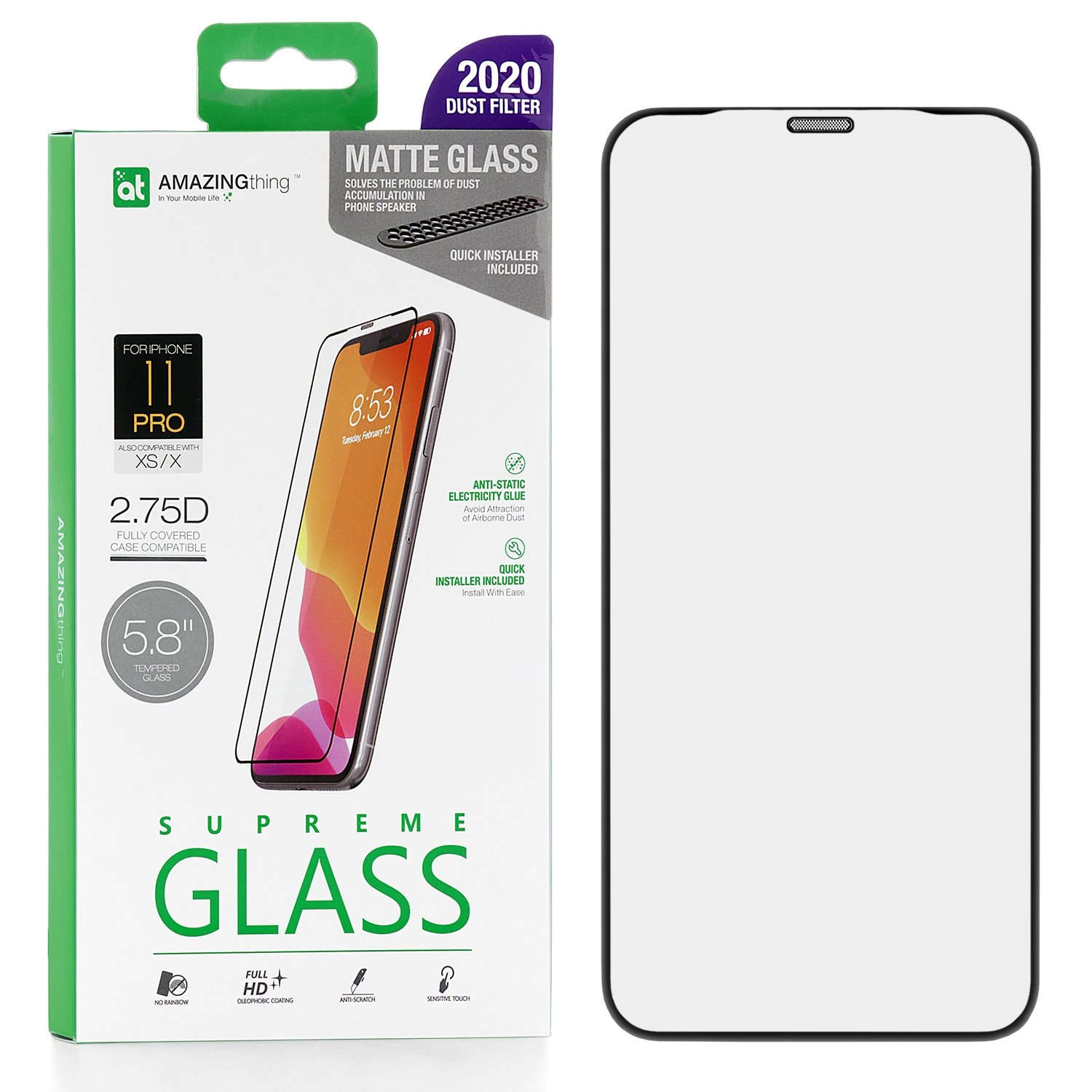 Защитное стекло AMAZINGthing Full Glue Anti-Glare Black 0.3mm для Apple iPhone X