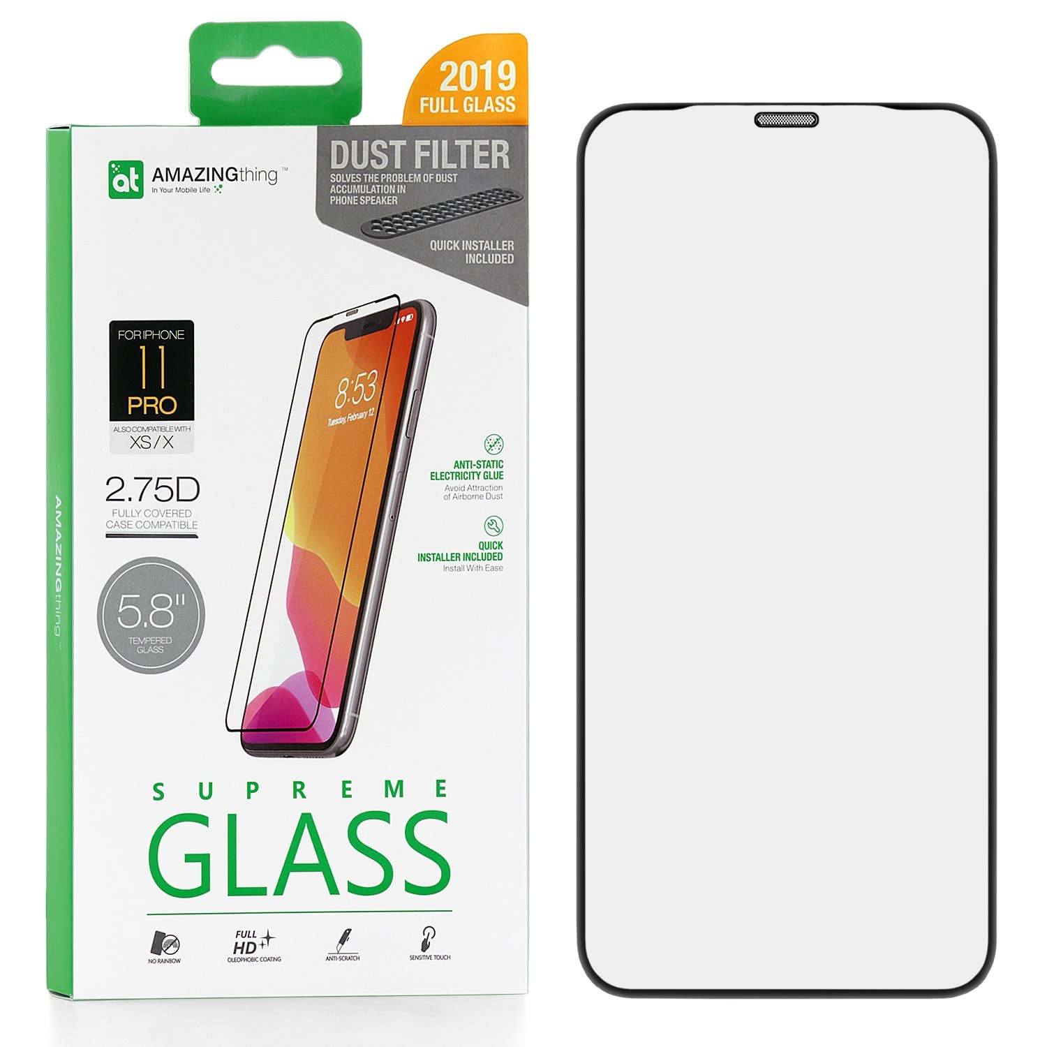 Защитное стекло AMAZINGthing SupremeGlass Dust Filter Black 0.3mm для Apple iPhone X