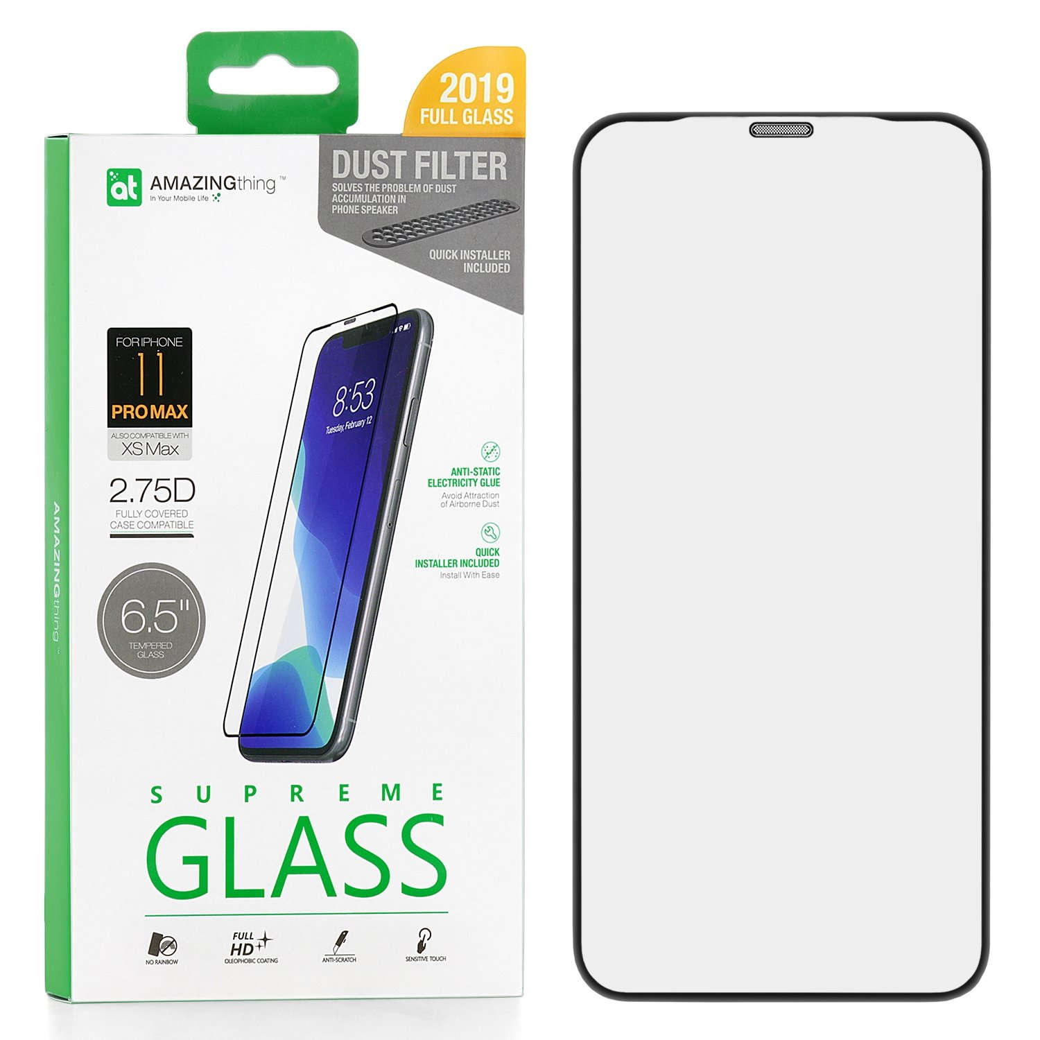 Защитное стекло AMAZINGthing SupremeGlass Dust Filter Black 0.3mm для Apple iPhone XS Max