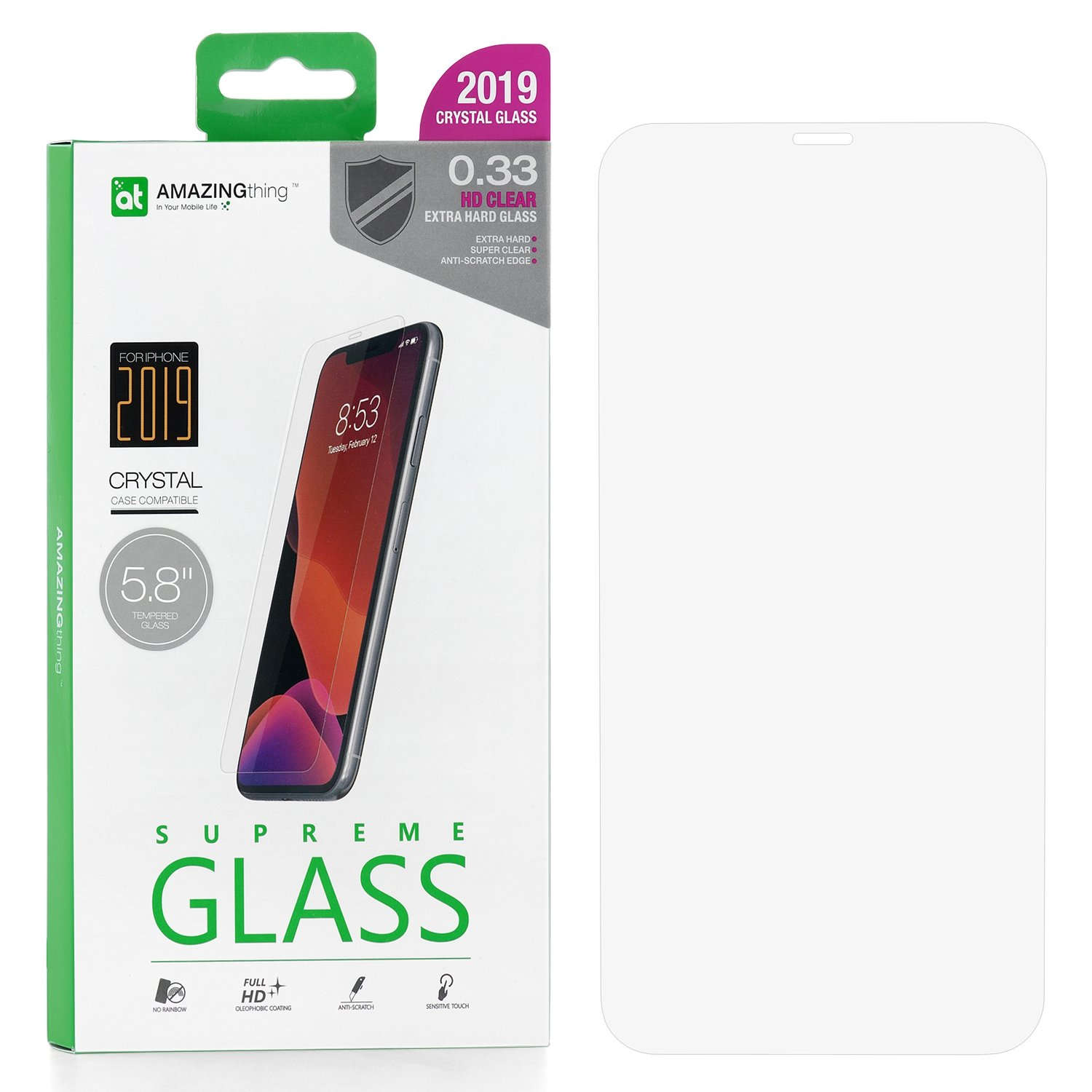 Защитное стекло AMAZINGthing SupremeGlass Extra Hard 0.33mm для Apple iPhone X
