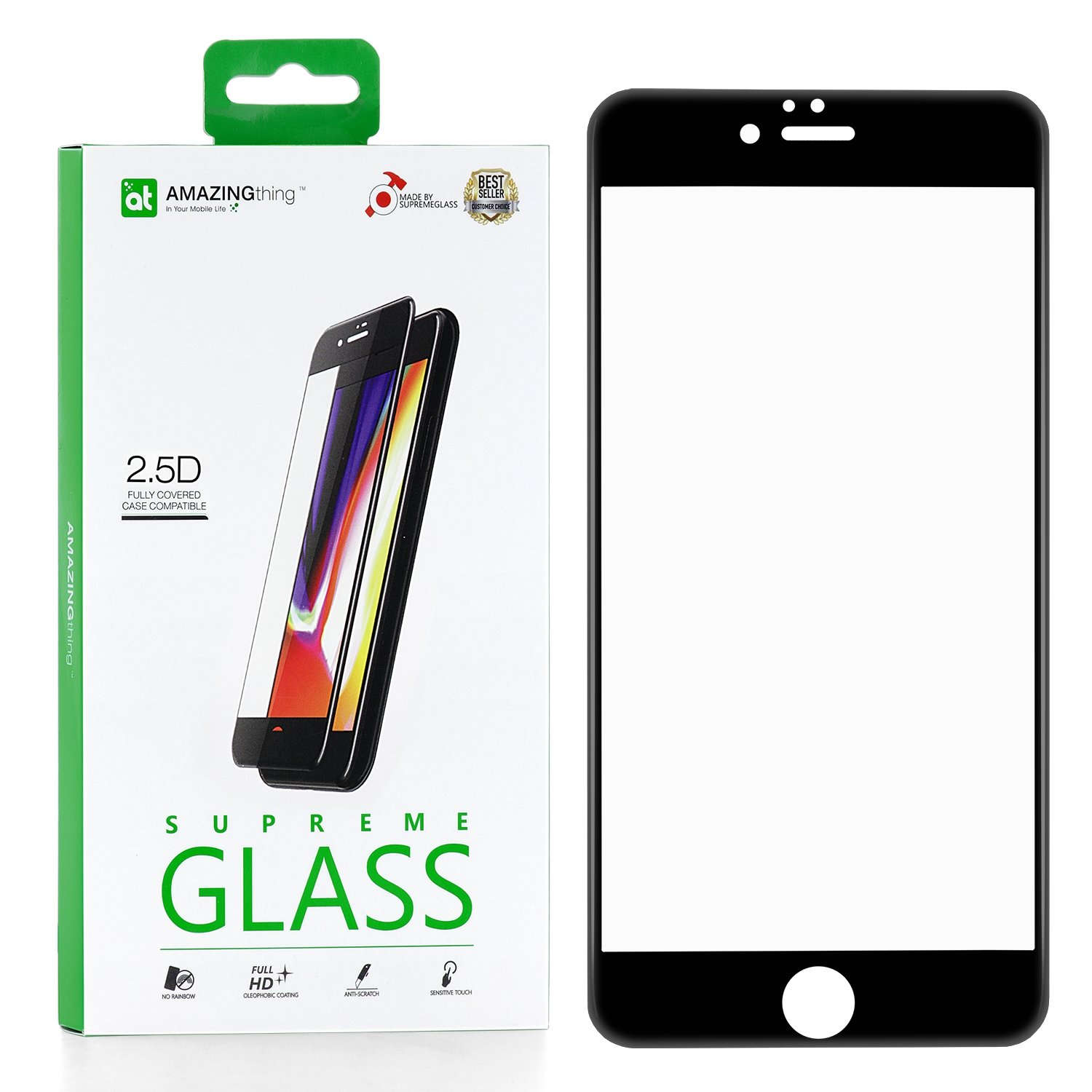 Защитное стекло AMAZINGthing SupremeGlass Full Glue Black 0.33mm для Apple iPhone 6/6S