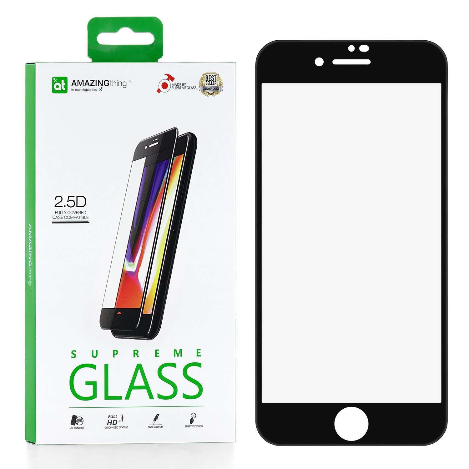 Защитное стекло AMAZINGthing SupremeGlass Full Glue Black 0.33mm для Apple iPhone 7