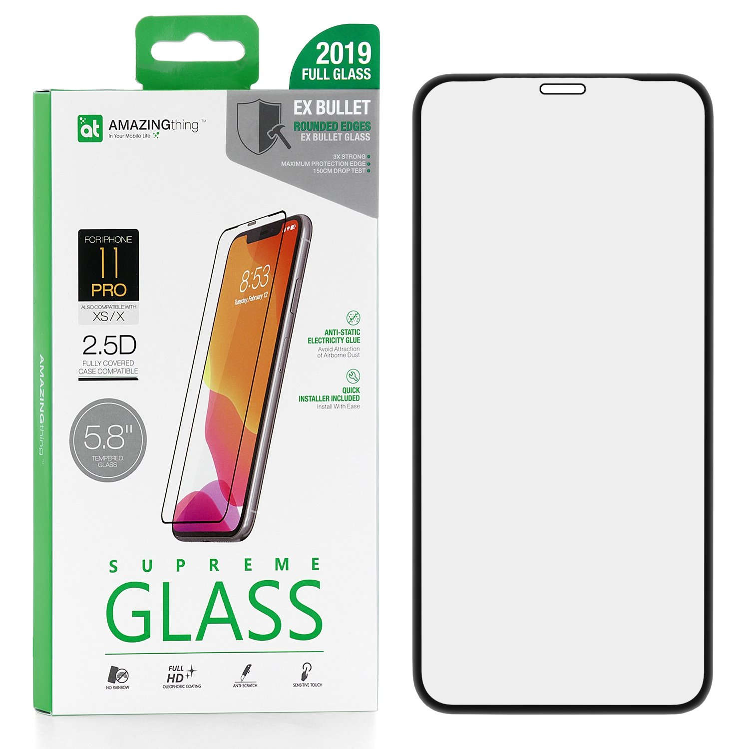 Защитное стекло AMAZINGthing SupremeGlass Full Glue Black 0.3mm для Apple iPhone X