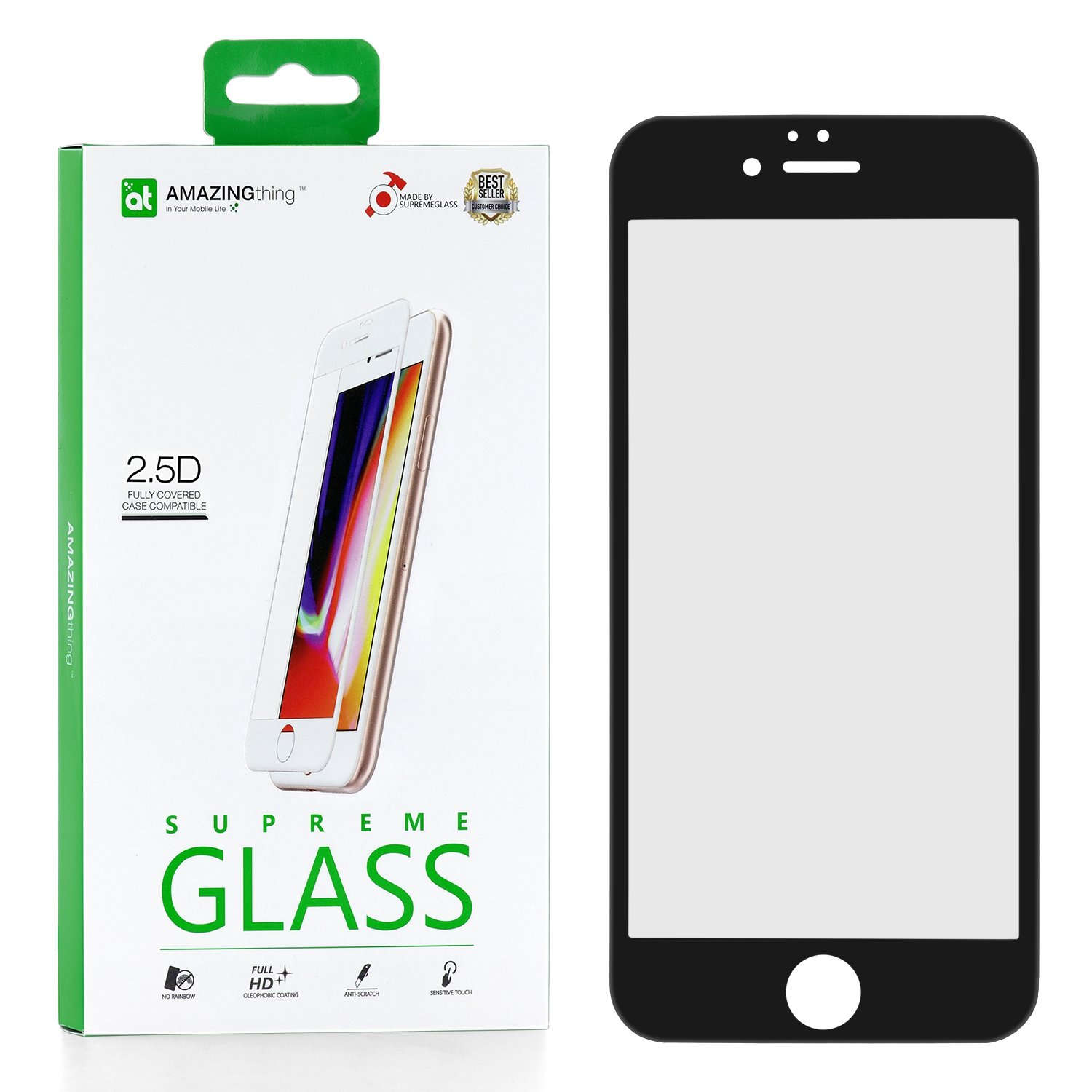 Защитное стекло AMAZINGthing SupremeGlass Full Glue Black для Apple iPhone 6 Plus/6S Plus