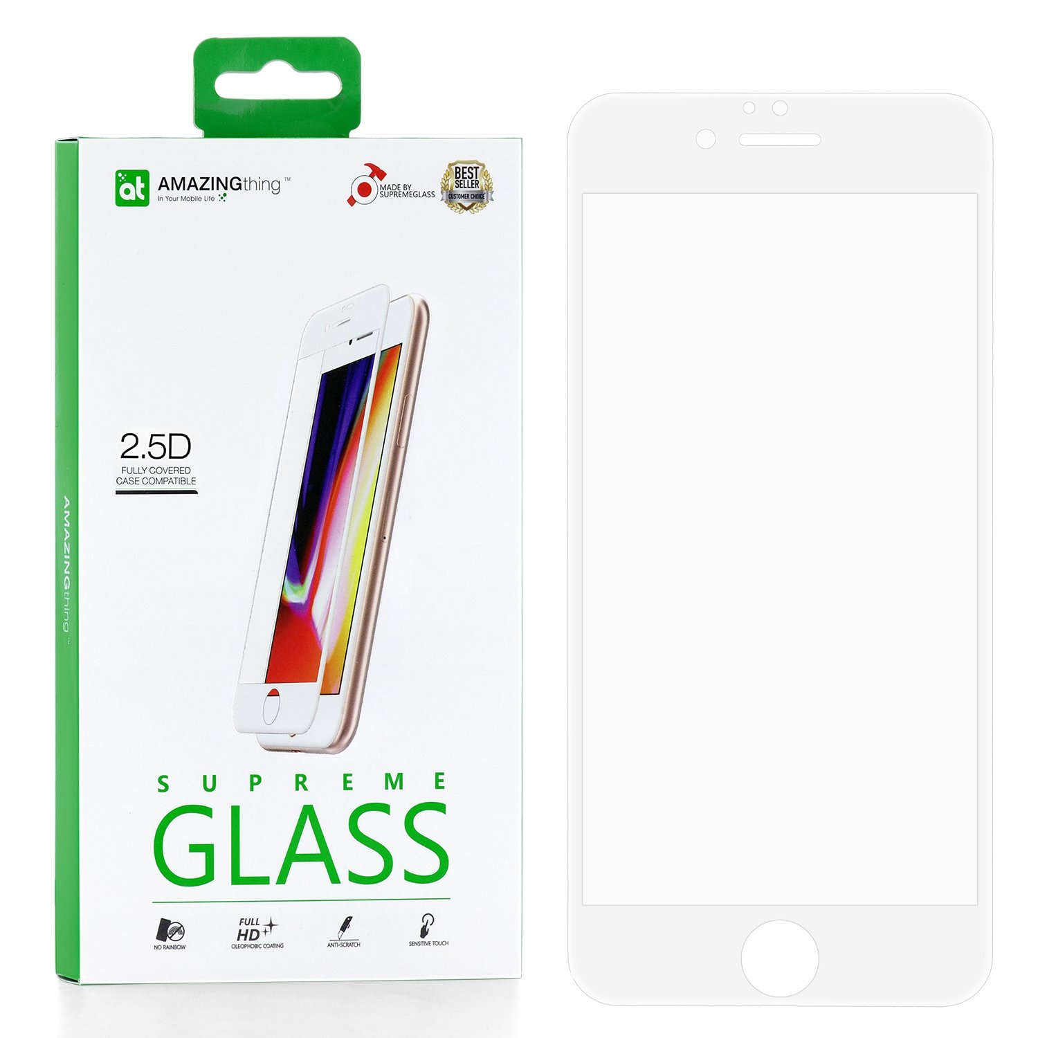 Защитное стекло AMAZINGthing SupremeGlass Full Glue White 0.33mm для Apple iPhone 6/6S