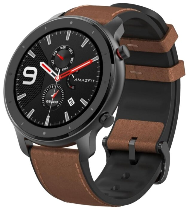 Часы Amazfit GTR 47mm aluminium case leather strap